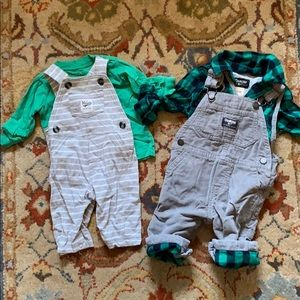 Two green overall sets Carter's 3-6 mo